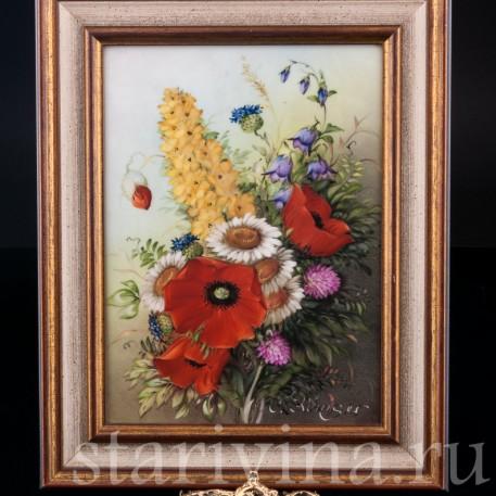 """Картина на фарфоре """"Полевые цветы"""", сер. 20 в"""