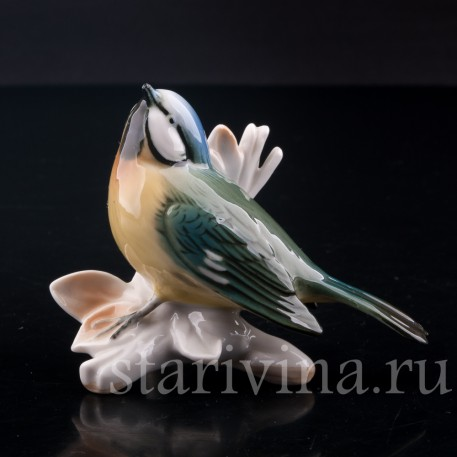 Статуэтка птицы из фарфора Лазоревка, Karl Ens, Германия, сер. 20 в.