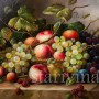 Картина маслом Натюрморт с персиками и ежевикой, Германия.